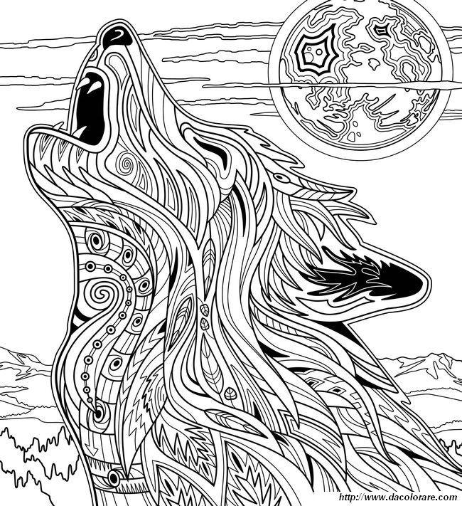 Immagine Questo Lupo Ulula Alla Luna Adult Coloring Pages
