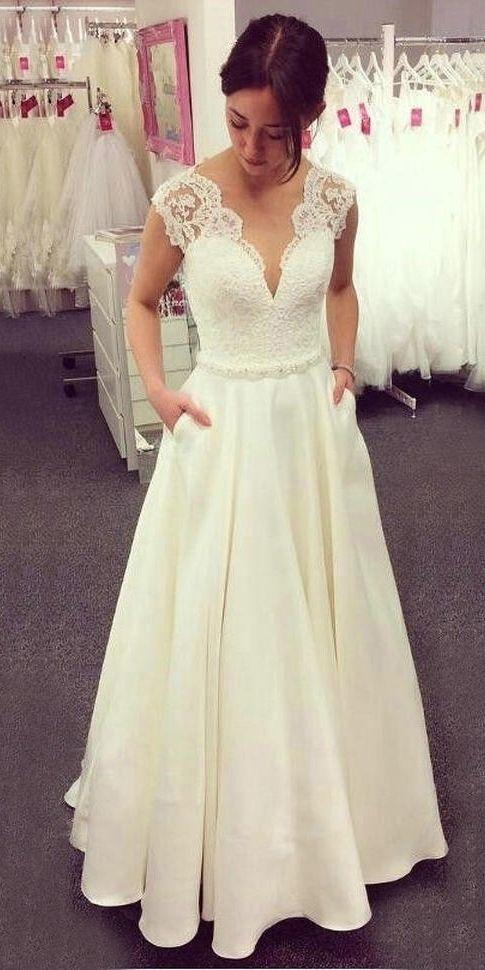 A Line V Neck Lace Top Ivory Wedding Dresses Satin Skirt With Pockets Ow516 Wedding Dresses Satin Lace Top Wedding Dress Lace Top Wedding