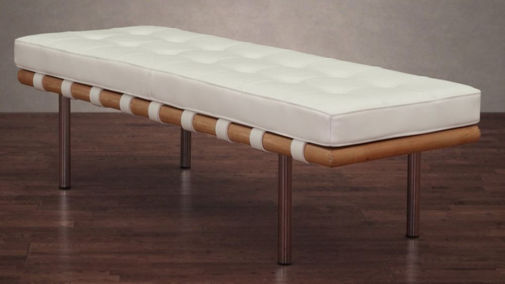 Modern White Tufted Leather Bench Chrome Plated Wood Seat