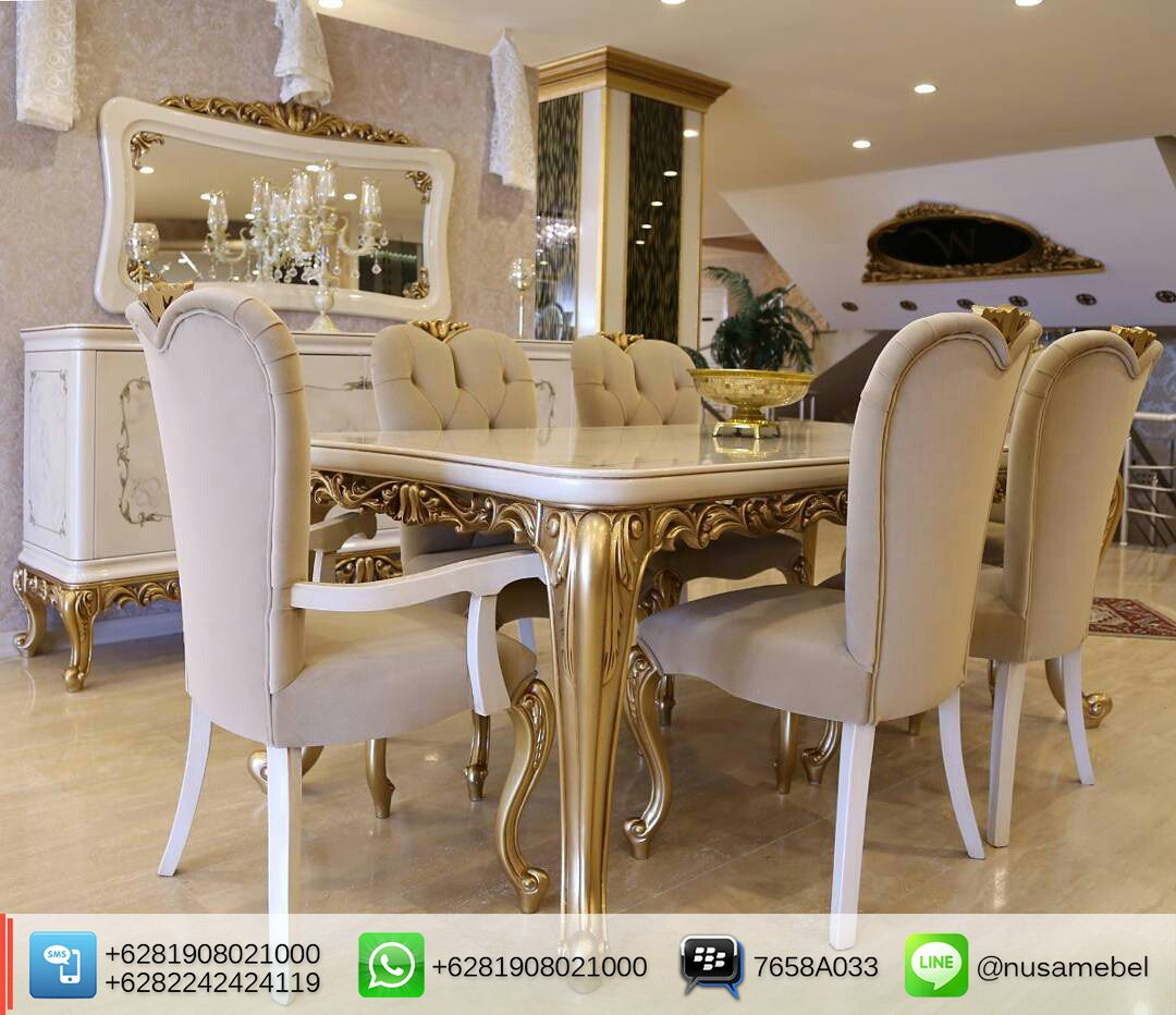 Set Kursi Makan Mewah Armalio Warna Emas Luxury Furniture
