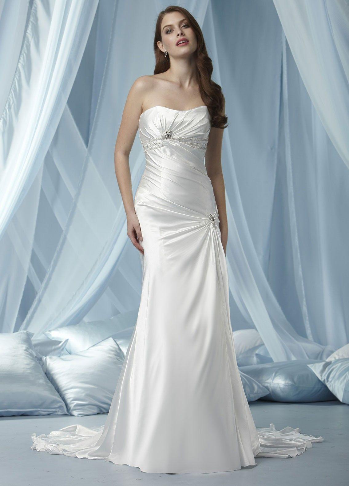 Wedding dresses rental  Charmeuse Strapless Softly Curved Neckline Gathered Bodice Aline