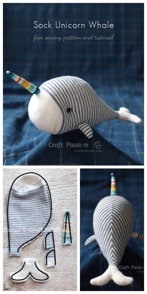DIY Sock Unicorn Whale Free Sewing Pattern & Tutorial