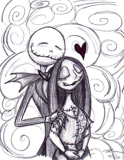Adorable Jack An Sally Drawing With Images Black And White Art Drawing Jack Skellington Drawing Drawings