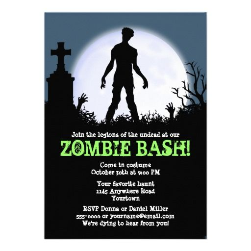 Zombie Bash Halloween Party Card Halloween parties, Zombie party - halloween poster ideas