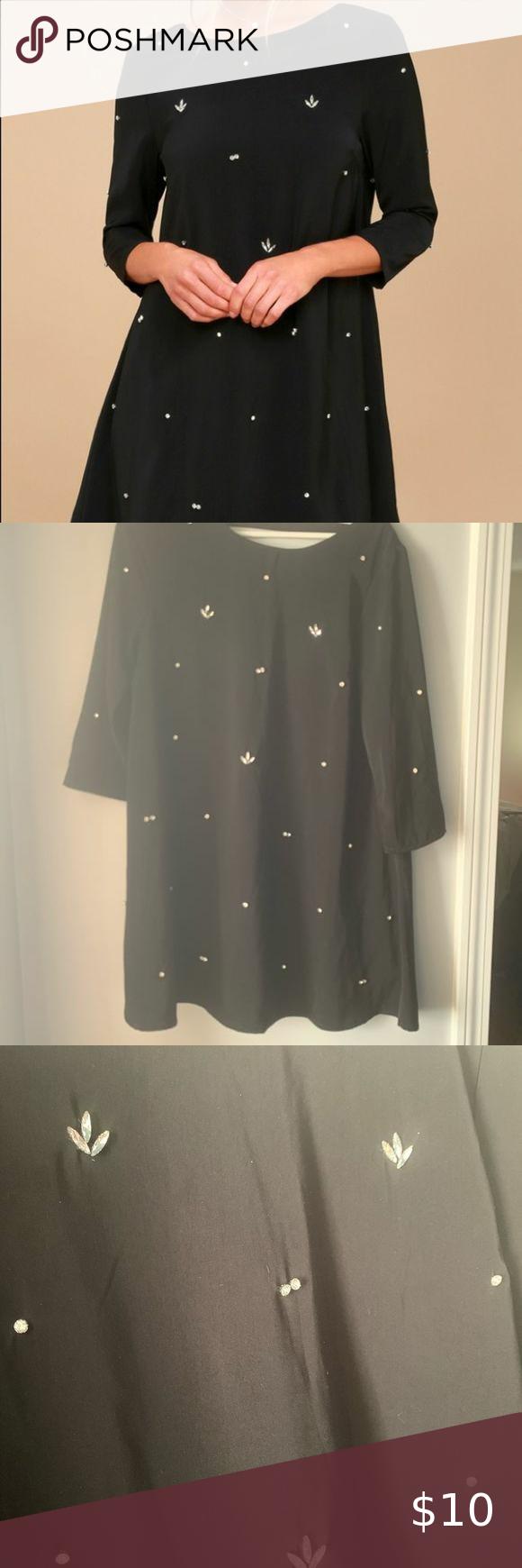 Lulus Black Rhinestone 3 4 Sleeve Swing Dress In 2021 Sleeved Swing Dress Swing Dress Lulu Dresses