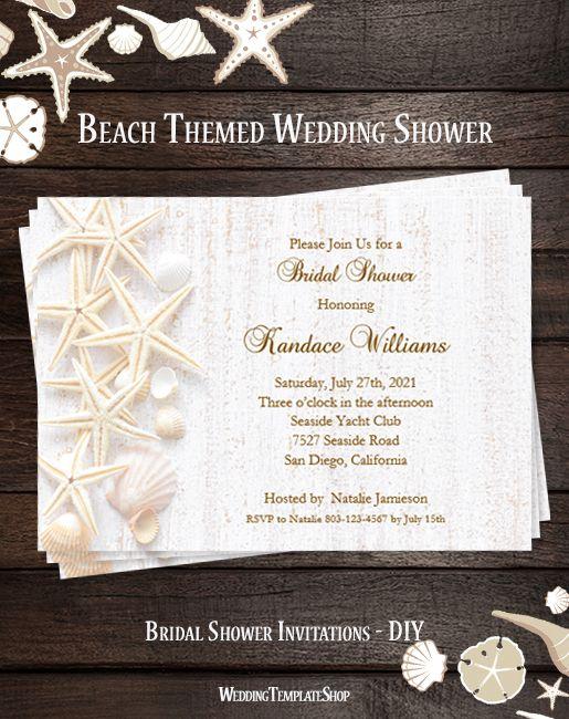 Beach Seashell Bridal Shower Invitation Bridal Shower