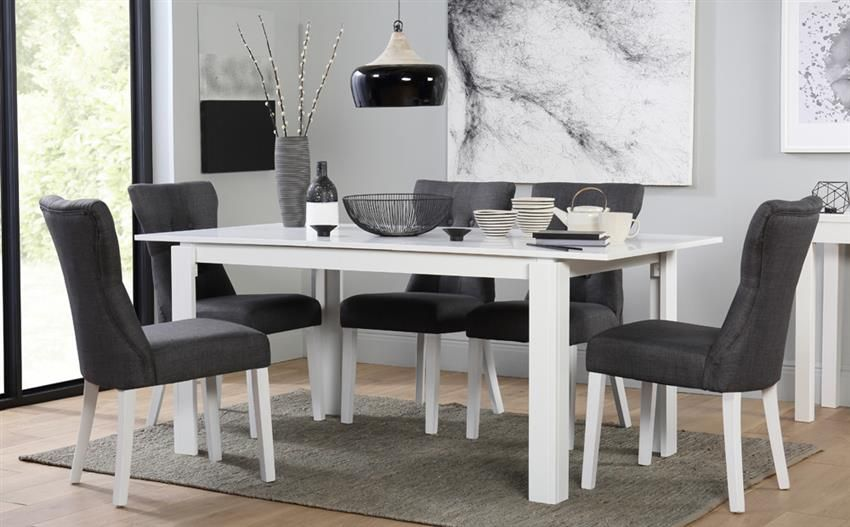 Fabulous Aspen White Extending Dining Table With 6 Bewley Slate Machost Co Dining Chair Design Ideas Machostcouk