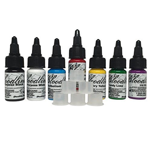 Skin Candy Bloodline Tattoo Ink Set Best 7 Selling Colors 12oz Free 20 Stable Ink Caps Bundle Read More Reviews Of The Product B Tattoo Ink Sets Skin Candy