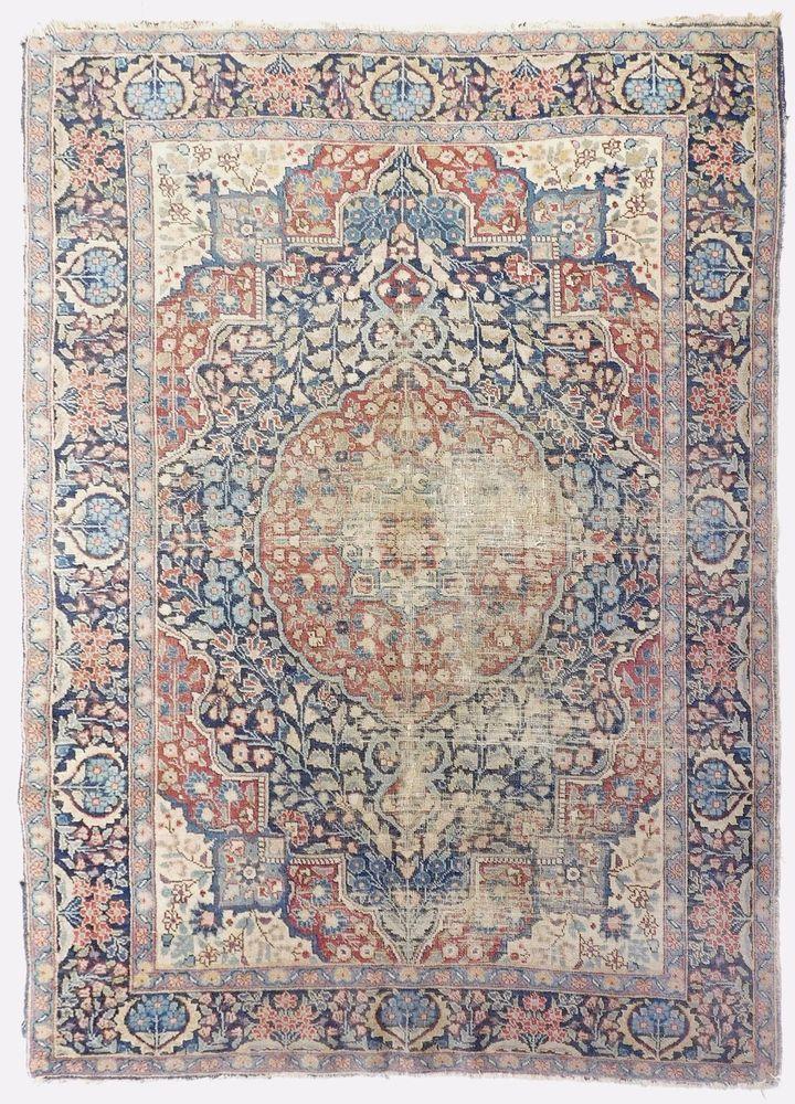 Distressed Antique Persian Tabriz Rug 4 6 X 3