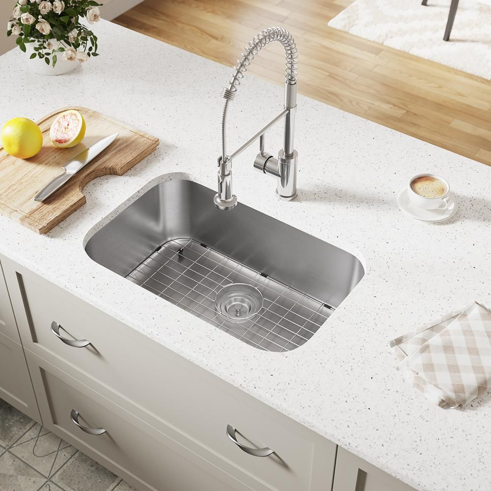 Mr Direct Undermount Stainless Steel 27 In Single Bowl Kitchen Sink With Additional Accessories 2718 16 Ens The Home Depot Single Bowl Kitchen Sink Sink Stainless Steel Sinks