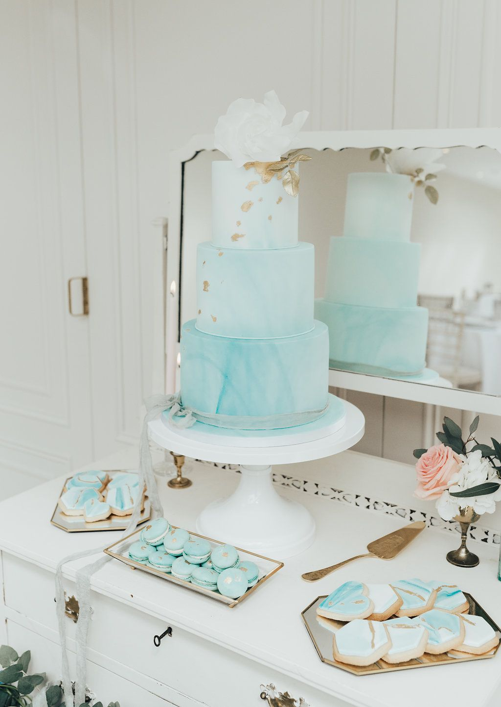 Dessert Table 3 Tier Blue Marbled Wedding Cake Decorated With