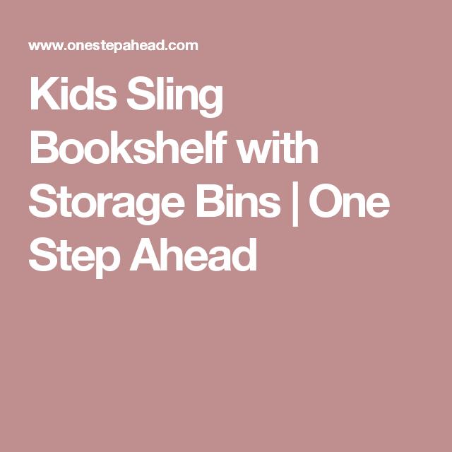 Kids Sling Bookshelf With Storage Bins