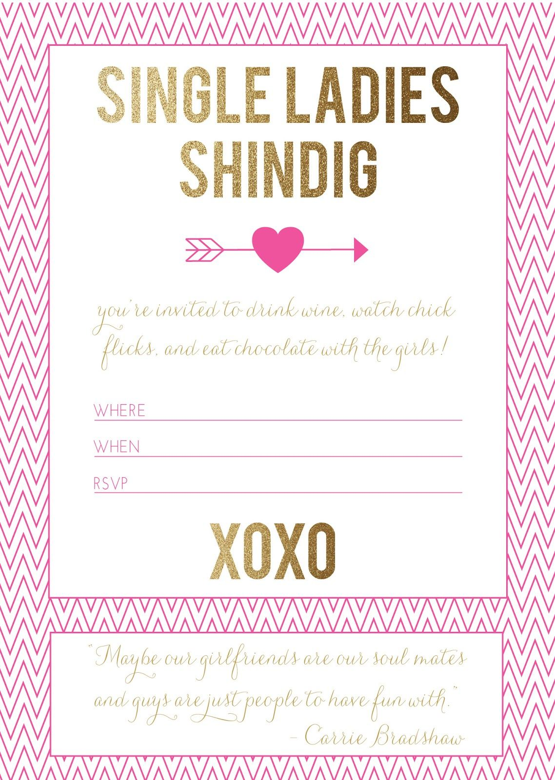 free download: single ladies #valentine\'s party invitation (via ...