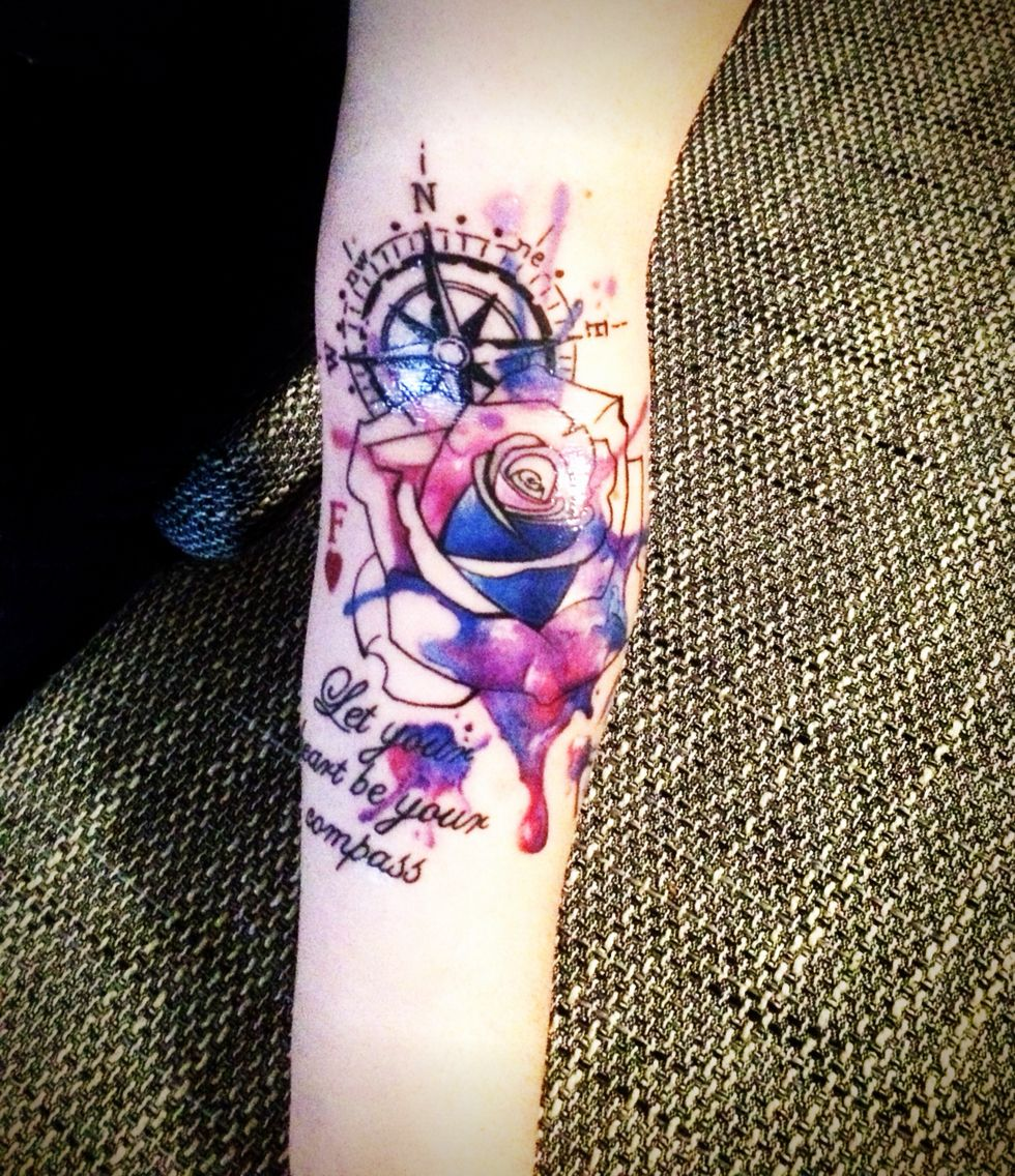 New In #tattoo #watercolor # Compass #rose #quote #galaxy