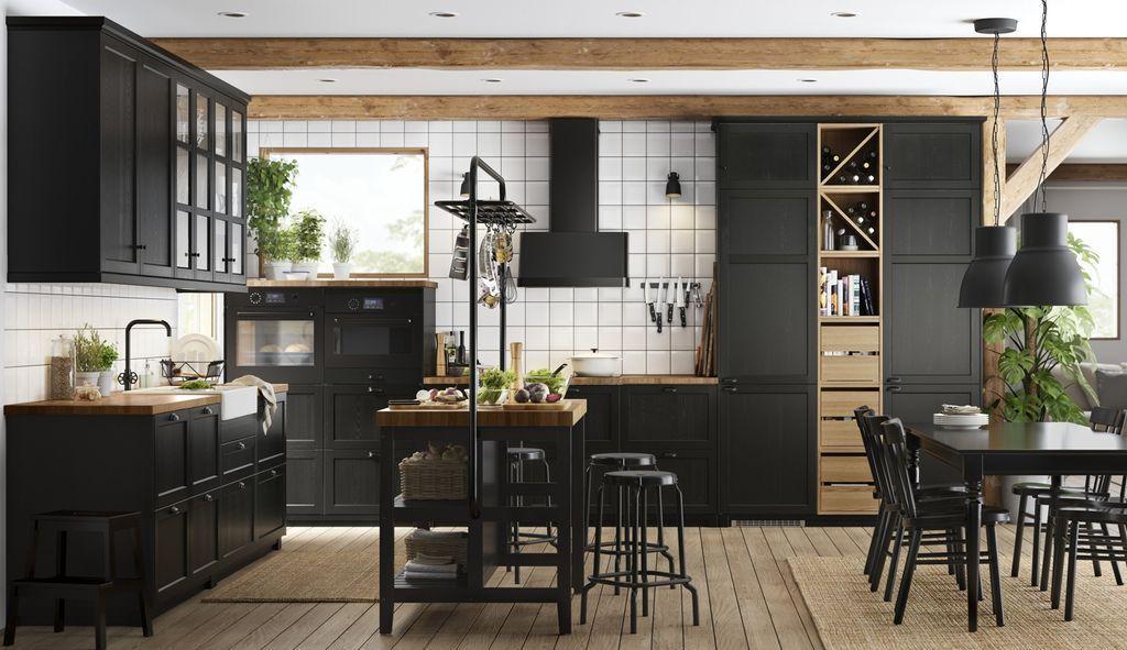 Ikea Le Nouveau Design Cuisines 2018 2019 Cuisine Ikea Cuisine Noire Et Bois Et Ikea