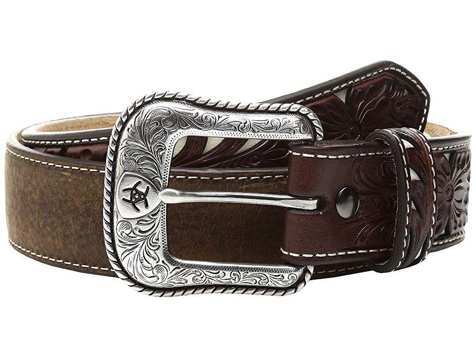 Ariat Ivory Trimmed Belt Medium Brown Distressed Mens Belts The Ariat Ivory Trimmed Belt has a handsome design for everyday wear Genuine leather belt Leather strap featur...