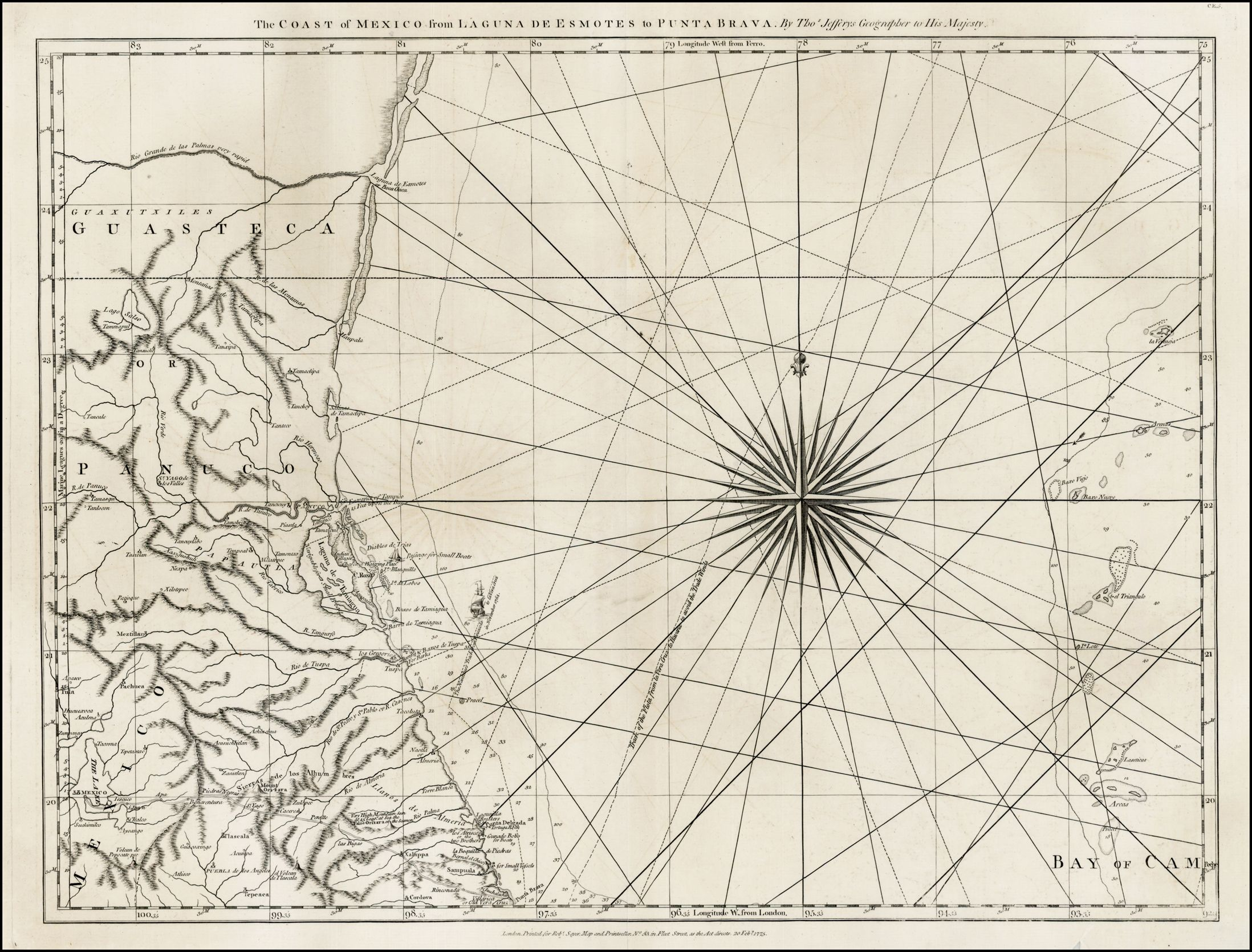 Barry Lawrence Ruderman Antique Maps Inc.-The Coast of Mexico from Laguna de Esmotes to Punta Brava . . . . (Vera Cruz to South Padre Island, Texas)    Map Maker: Thomas Jefferys    Place / Date: London / 1775    Coloring: Uncolored    Size: 25 x 18.5 inches    Condition: VG  Price: $450.00  Inventory ID: 33036