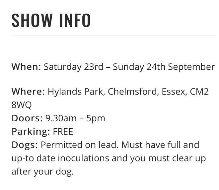 """We shall be exhibiting at this weekends All About Dogs Show @ Hylands Park in Chelmsford. Come and say Hi 👋🏼 and see our new range of colours in our 36"""" Shorter leads 👍 Thanks to everyone who saw us last weekend at Detling Show Ground in Kent 🐶 #pets#dogs#cats#birds#rabbits#lovablepets"""