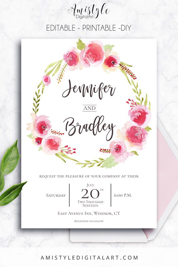 Printable Wedding Invitation Rose Wreath Printable Instant