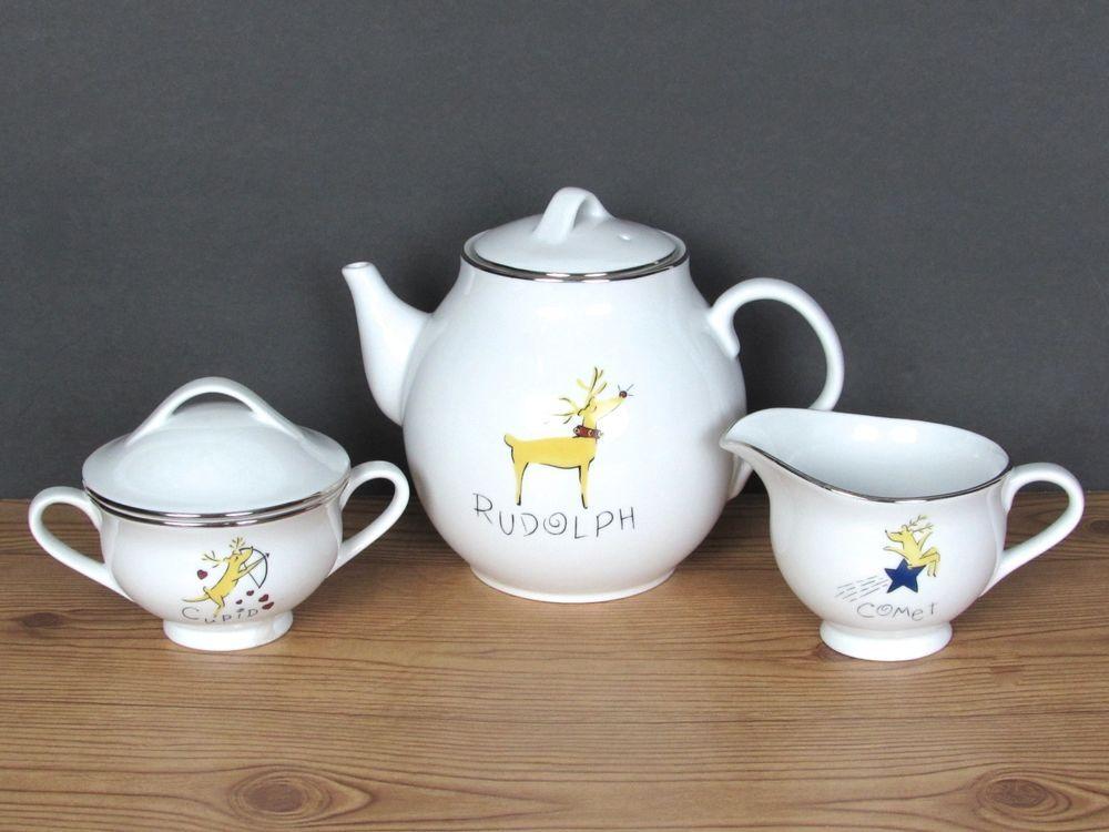 3 Pc Set Pottery Barn Reindeer Rudolph Teapot Creamer