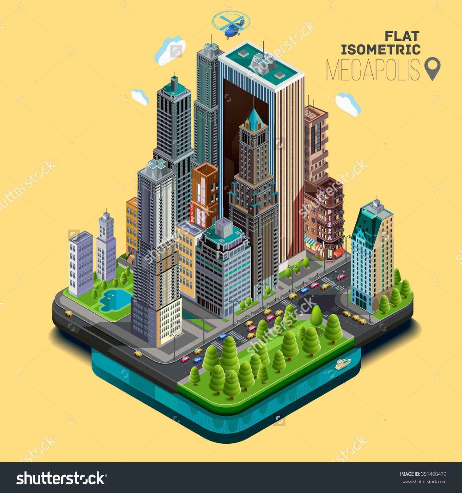 Isometric City,Megapolis Concept Office Buildings, Parks