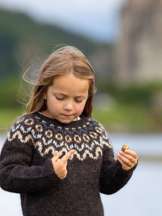 Knitting KIT // Child's Icelandic Patterned Yoke Lopapeysa Sweater ...