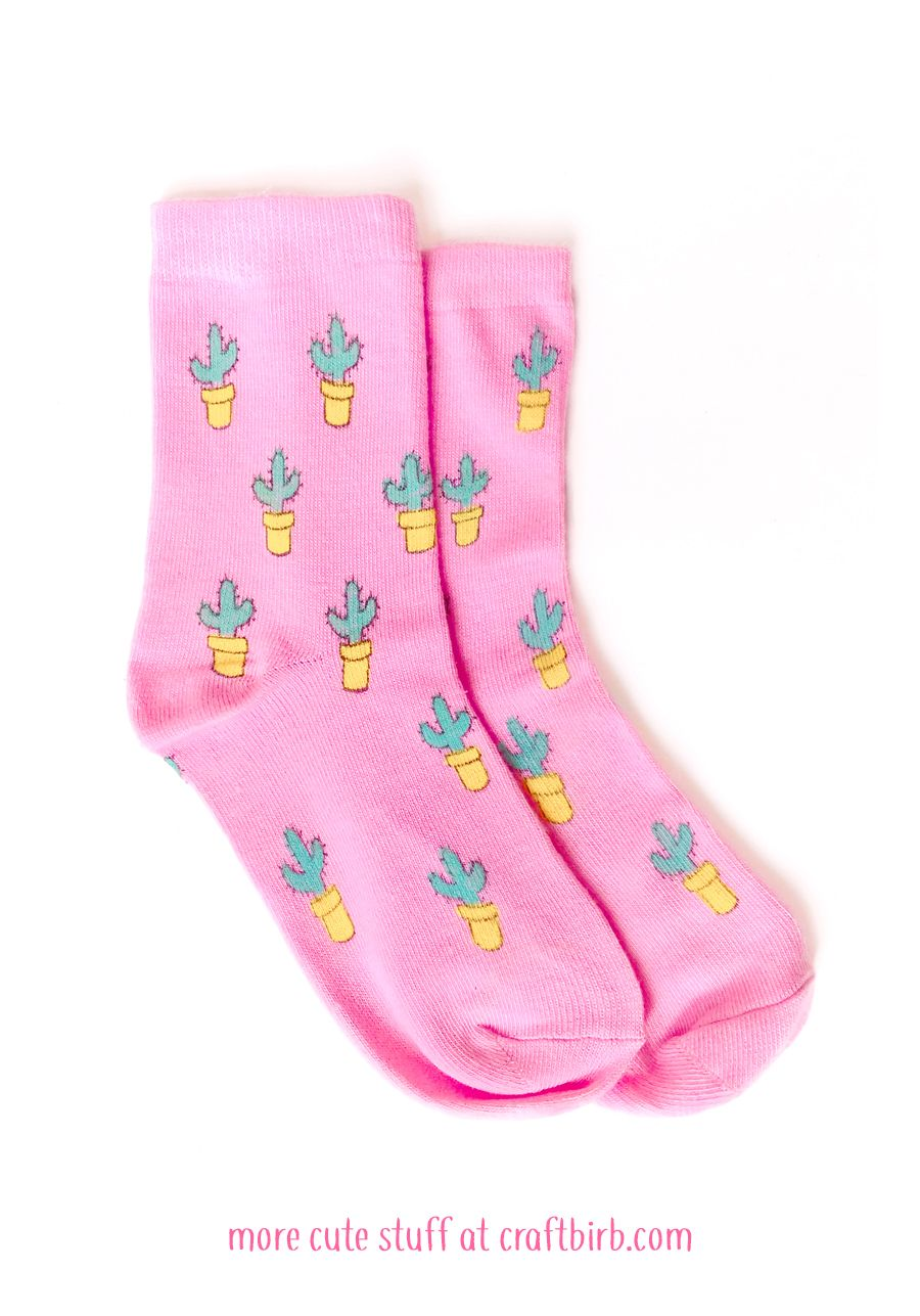 Cute Pink Cactus Socks Hand Printed One Size With Images