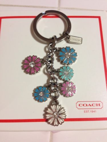 New Coach Dangle Multi Color Flower Key Chain