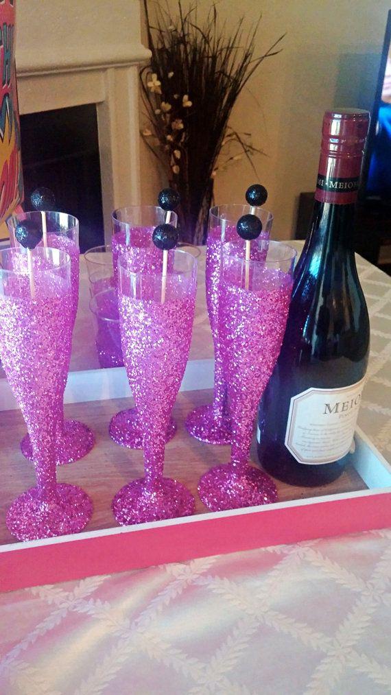 Dark Pink Glitter Champagne Flutes Plastic Cups Plastic Flutes For