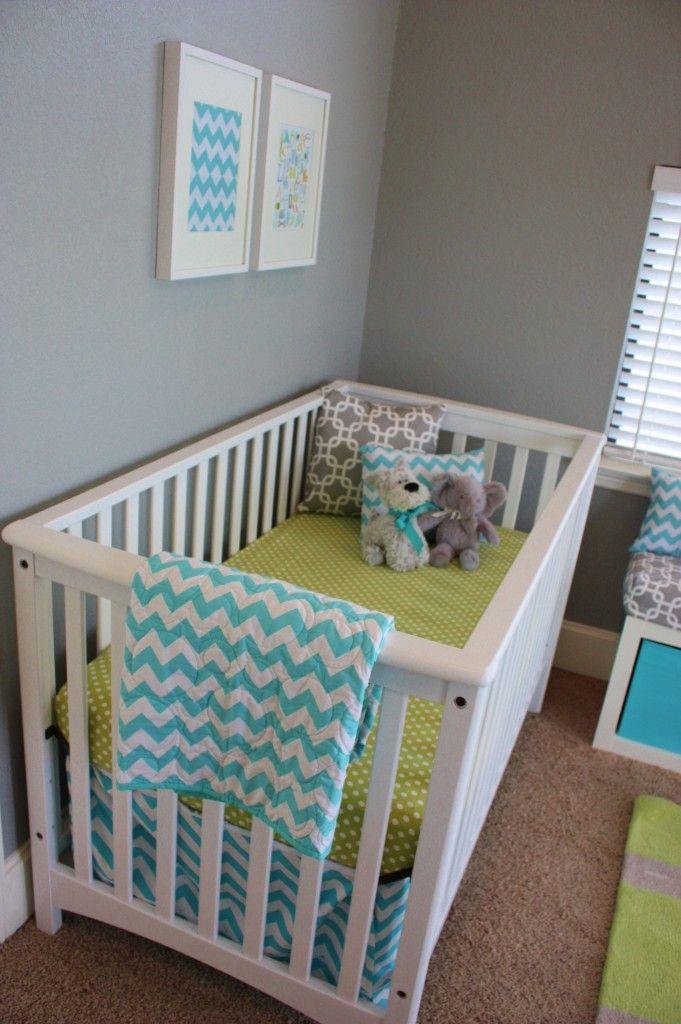Aqua Gray Green Baby Boy Nursery