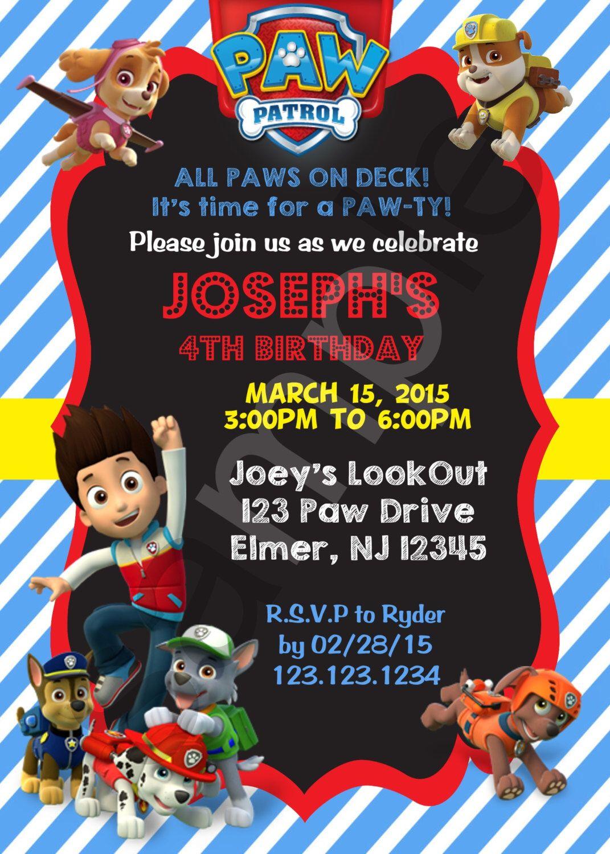 Paw Patrol Birthday Invitation Digital File By TheDigiPaperPatch On Etsy