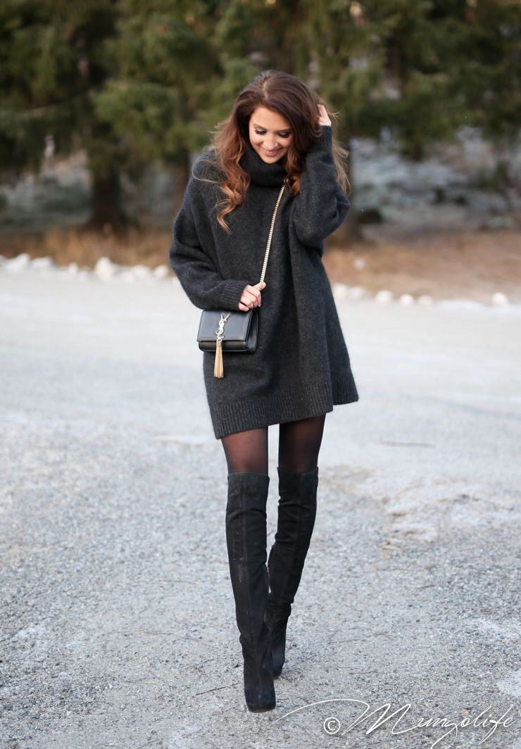 Instagram: @mungoanna / Details: http://www.mungolife.fi / Tara Jarmon, Topshop, YSL, Mohair sweater, Overknee boots, Kate tassle bag, Winter outfit