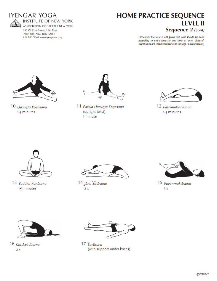 Iyengar Yoga Institute of New York Home Practice Sequence Level 2 ...