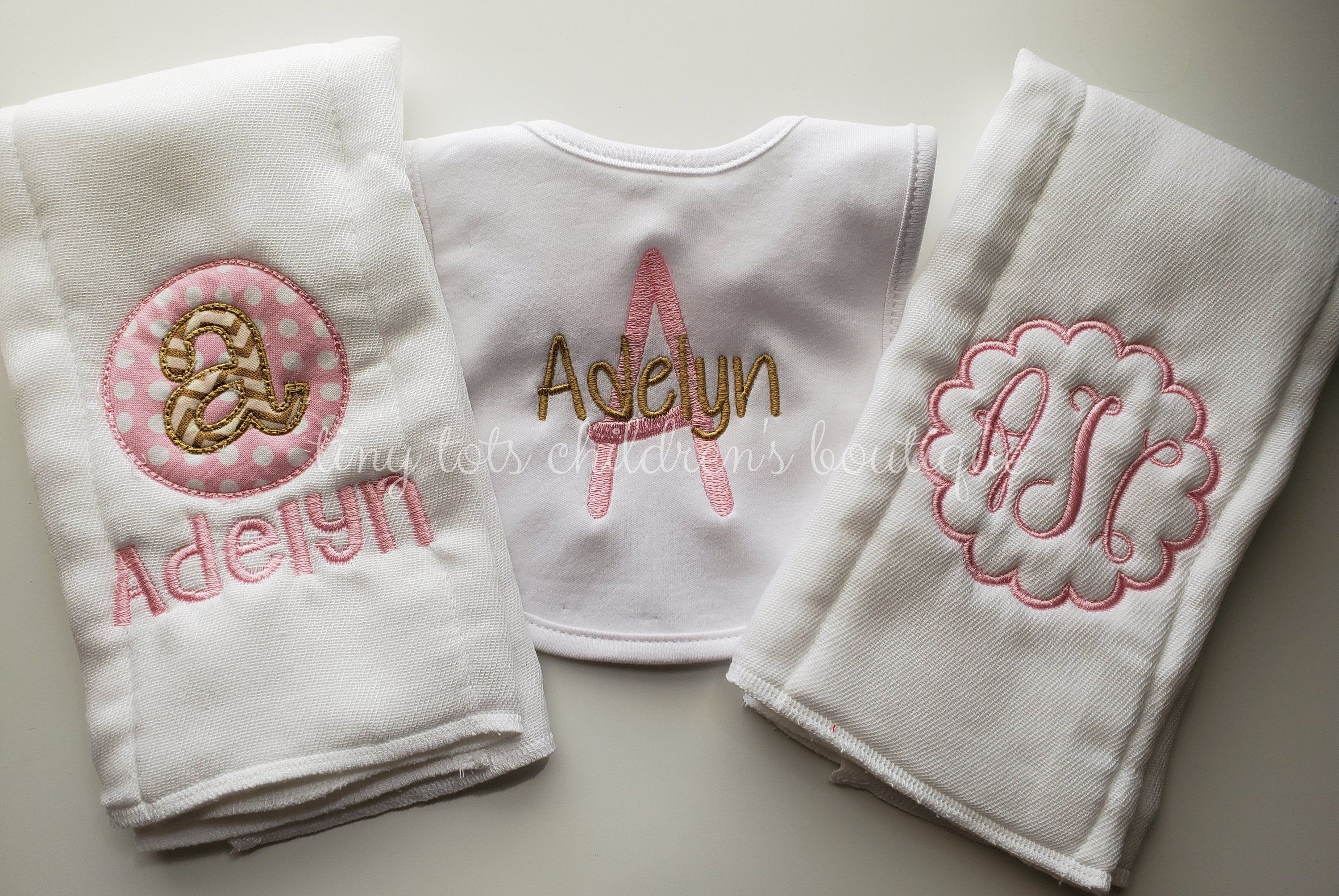 New Handmade Personalized Embroidered Pink Girl Baby Bib and Burp Cloths Sets