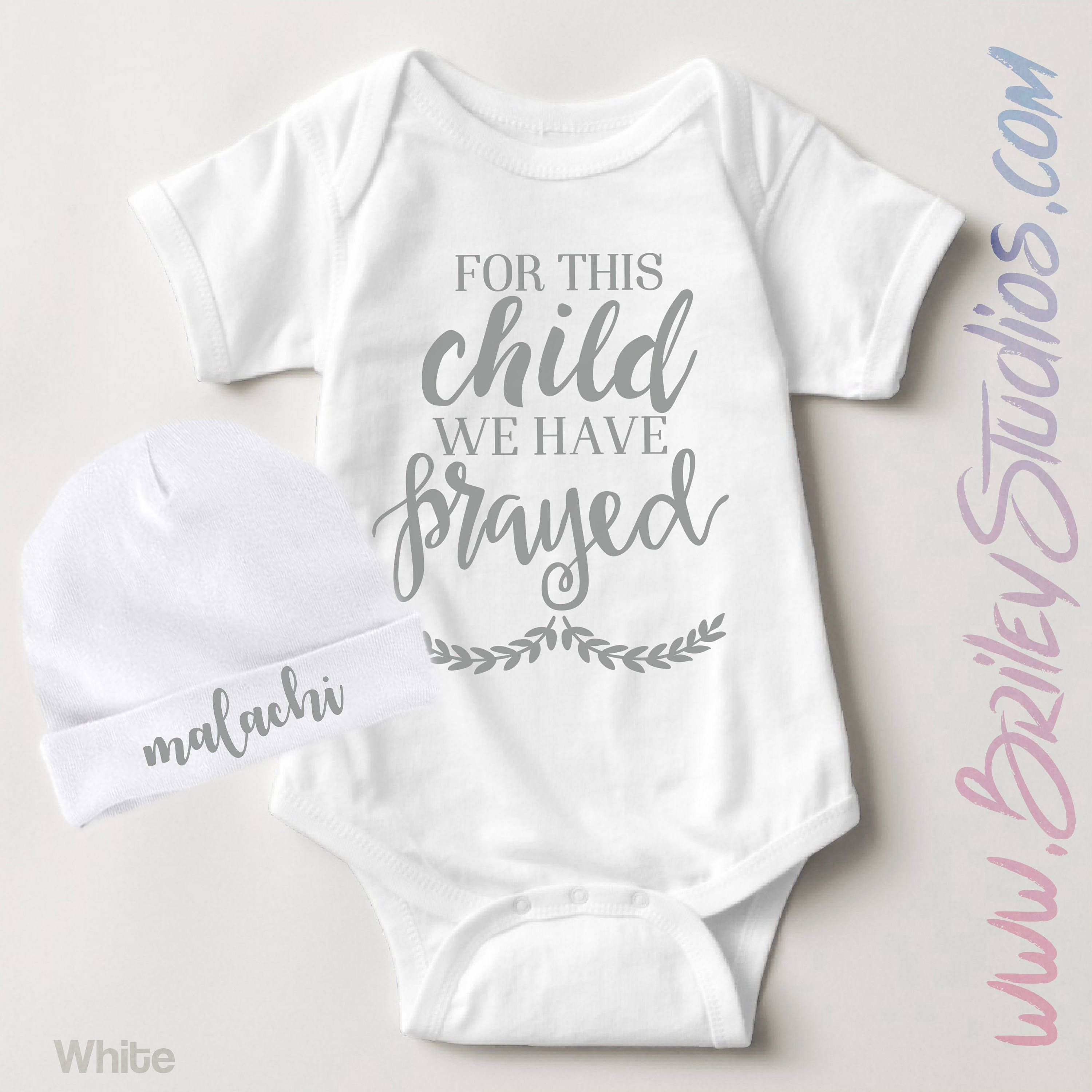 For This Child We Have Prayed Newborn Baby Outfit, Birth Announcement,  Personalized Baby Shower. Gender Neutral ...