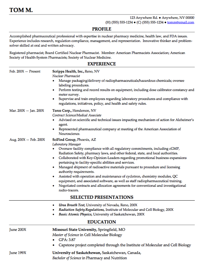 Example Of Nuclear Pharmachist Resume Examples Resume Cv Resume Sample Resume Templates Resume Examples