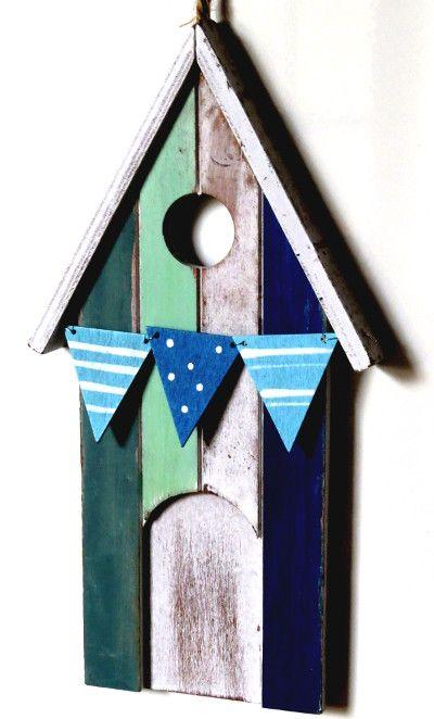 13+cm+x+24+cm+Anhänger+Strandhaus+Holz+blau+weiß