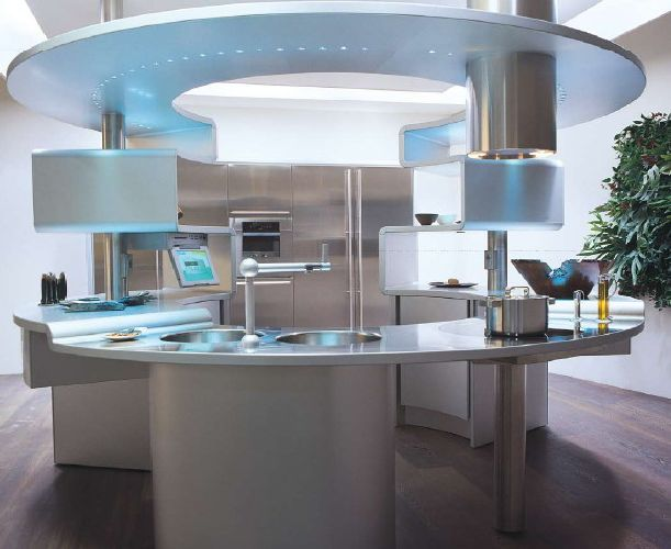 Newest Kitchen Designs Grey Italian Kitchen Design With Round Table Ideas ~ Http