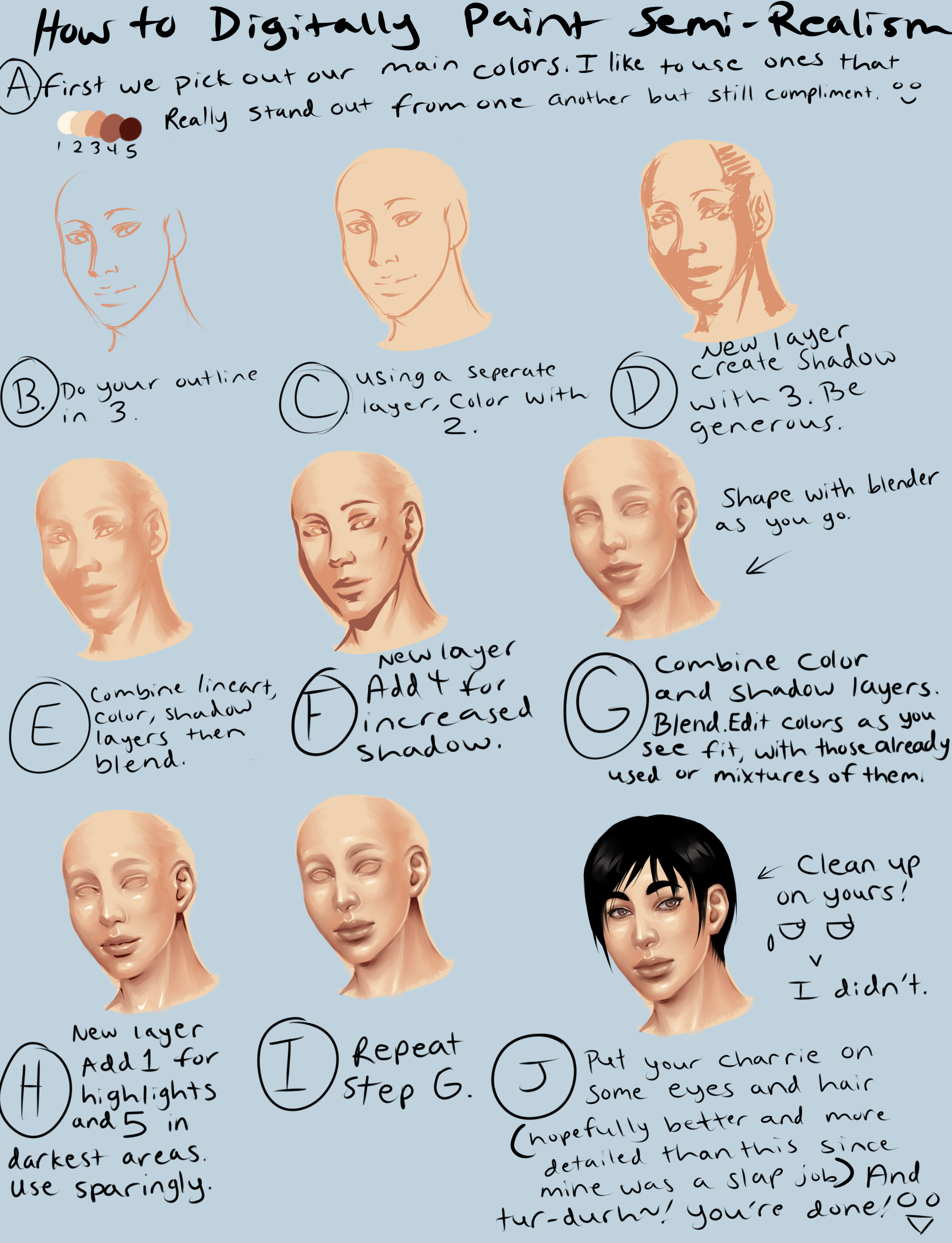 digital semi realism skin tutorial by thecomicstream deviantart com