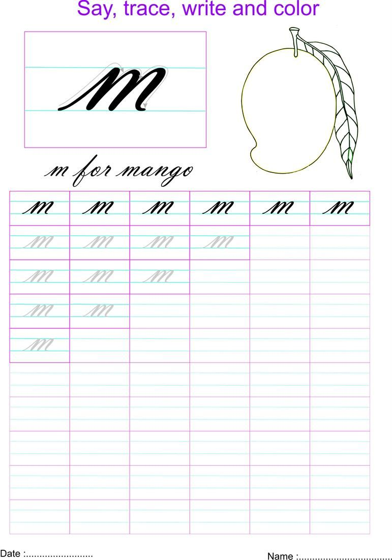 Cursive small letter m worksheet | Cursive small letters ...