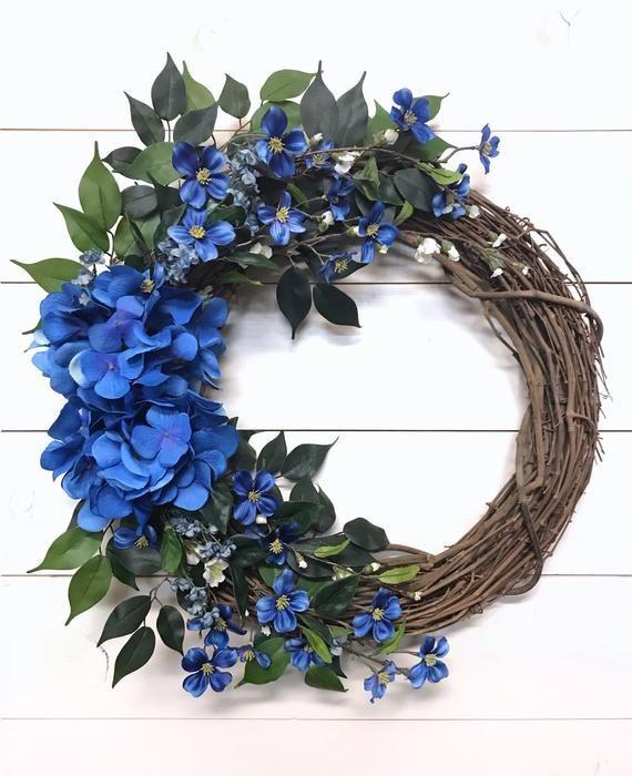 Photo of Blue Hydrangea Wreath for Front Door | Bright Blue Floral Door Wreath | All Season Wreath | Hydrangea Wreath for Spring Summer and Fall