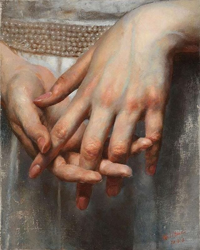 """Drawing Anatomy & Art official on Instagram: """"Beautifully detailed painting the blue color of the veins the reddish-orange of the fingers amazingly done, Artist - @harryhe3744"""""""