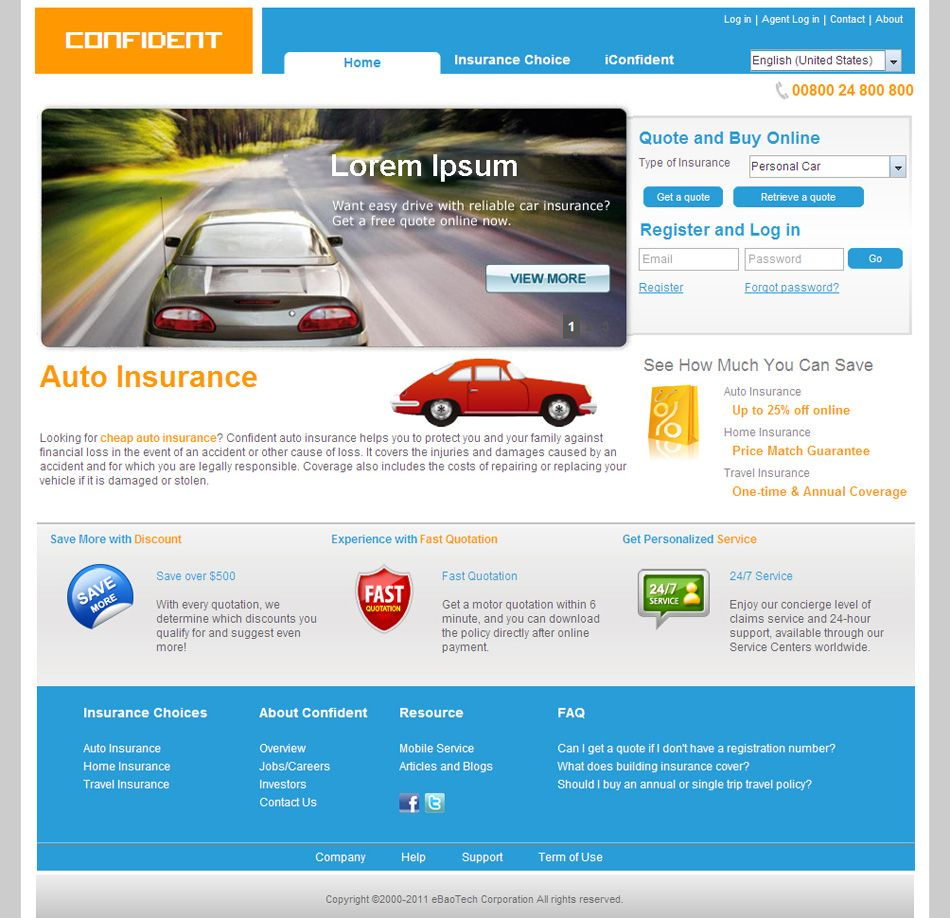 Salesplatform For General B2c Homepage Property And Casualty Home Insurance Reliable Cars
