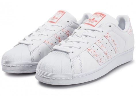 adidas blanche superstar rose