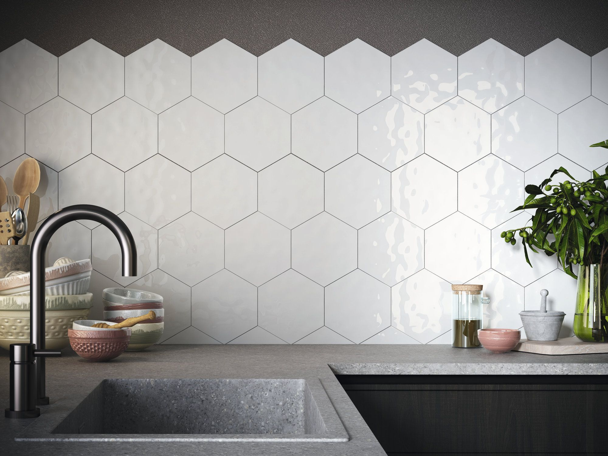 Ape Rustic 7x8 Hexagon Tile In White High Gloss Finish With A Hand Made Edge Beautiful Bathroom Designs Kitchen Room Design Kitchen Facelift
