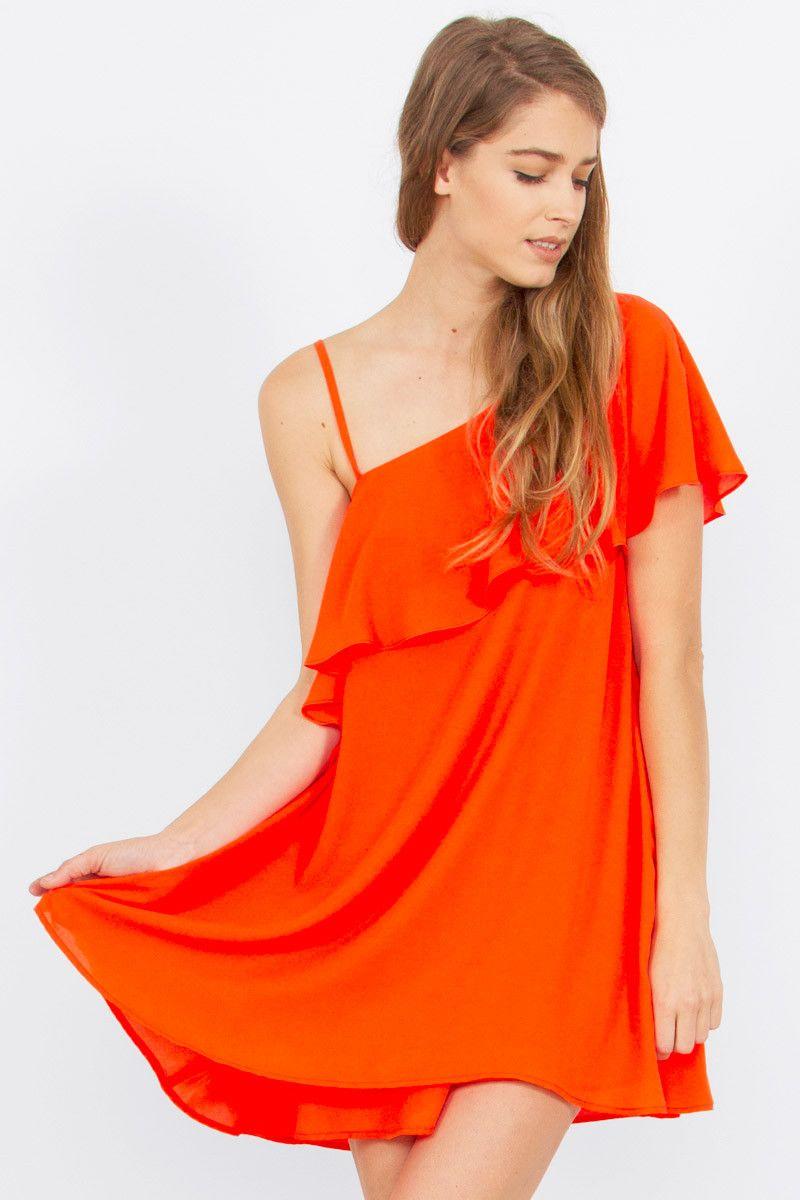 Spaghetti Strap One Shoulder Dress