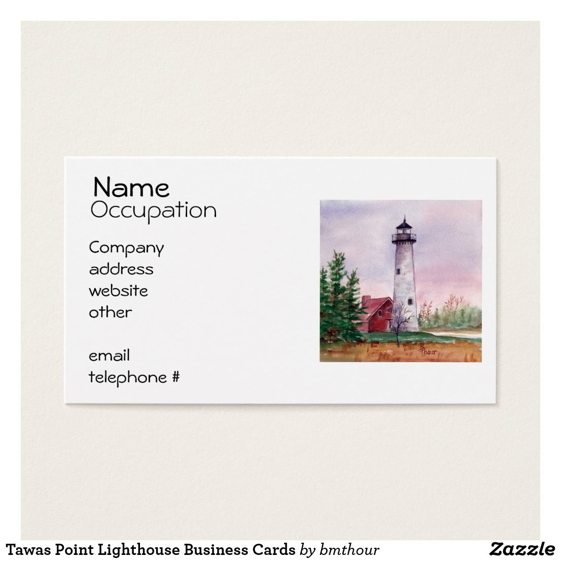 Tawas Point Lighthouse Business Cards | Lighthouse and Business cards
