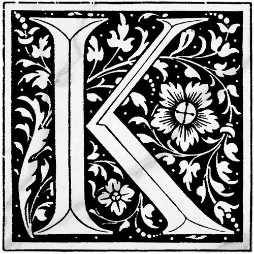 """""""K"""" Vintage Font with white marble 