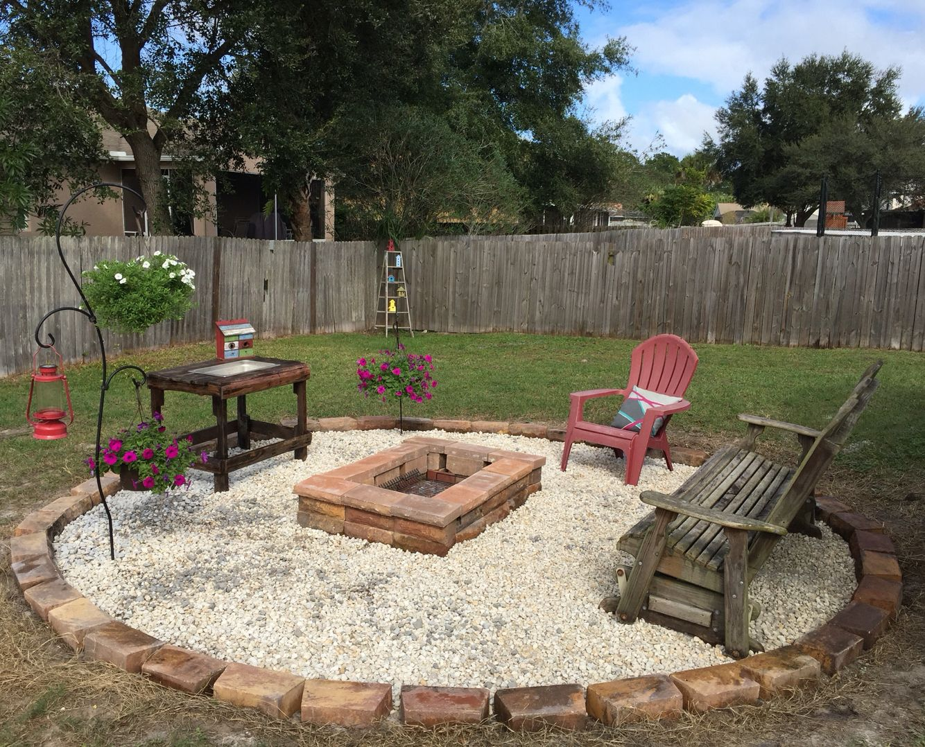 Above ground pool area turned into a fire pit area for Landscaping ideas for pool areas