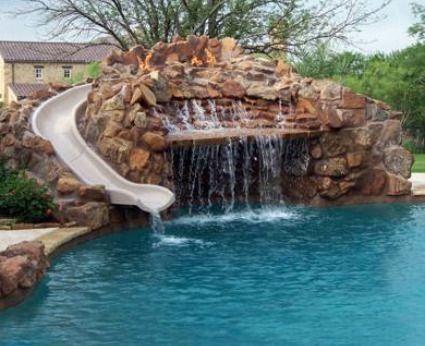 Pool Waterfall Slide Backyard Pool Cheap Pool Swimming Pool